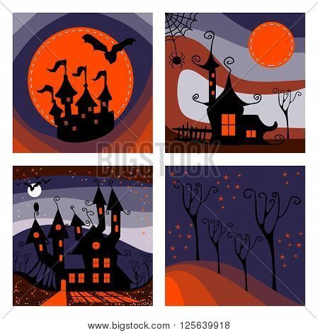 Beautiful set of cards for Halloween holiday. Castle haunted house, witch house and forest at night. Vector illustration.