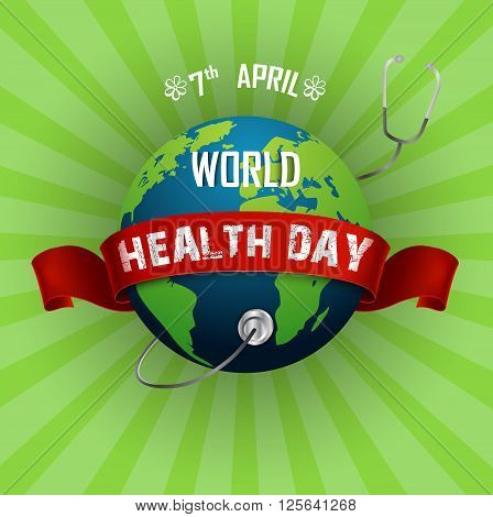 Illustration of World health day concept with globe and stethoscope
