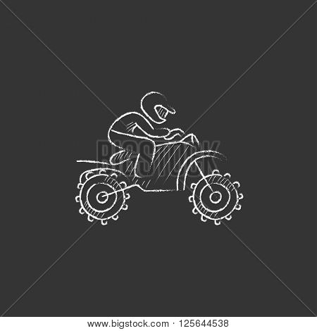 Man riding motocross bike. Drawn in chalk icon.