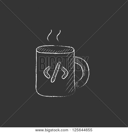 Cup of coffee with code sign. Drawn in chalk icon.