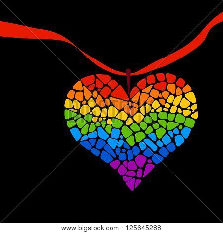 Mosaic rainbow heart on black background. Rainbow heart vector icon. Rainbow heart  LGBT logo. LGBT symbol. Gay culture sign. Gay pride design element. Mosaic rainbow heart with ribbon