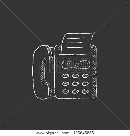 Fax machine. Drawn in chalk icon.