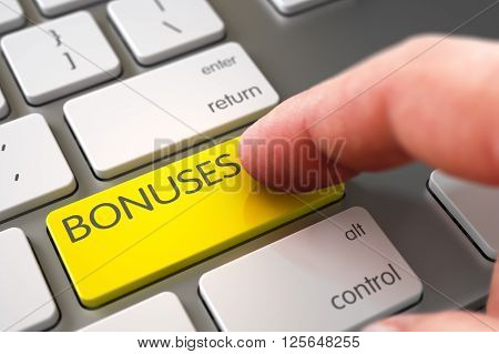 Hand Touching Bonuses Keypad. Bonuses Concept. Computer User Presses Bonuses Yellow Button. Hand Finger Press Bonuses Key. Close Up view of Male Hand Touching Bonuses Computer Keypad. 3D.