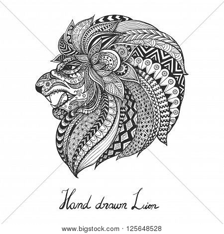 Hand drawn lion for T- shirt design, poster, tattoo and so on - Stock Vector