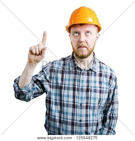 Man in orange helmet showing his index finger upwards