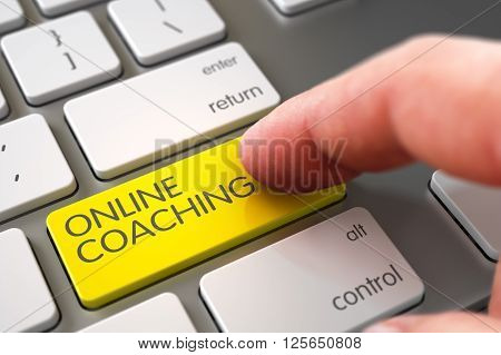 Online Coaching - Aluminum Keyboard Key. Hand using White Keyboard with Online Coaching Yellow Key, Finger, Laptop. Selective Focus on the Online Coaching Key. 3D Illustration.