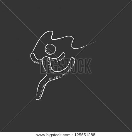 Gymnast with tape. Drawn in chalk icon.