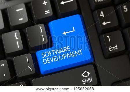 Software Development Close Up of Computer Keyboard on a Modern Laptop. Software Development Concept: Modern Laptop Keyboard with Software Development, Selected Focus on Blue Enter Keypad. 3D Render.