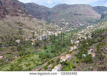 The Valle Gran Rey, the beautiful canyon on La Gomera is located on the west side of the island. Gomera has a unique nature that invites to hike. The terraces are still used for agriculture