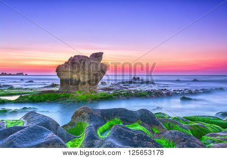 Dawn beautiful moments on stone fossil with sky seven colors, below a large rock overlooking sky, surrounded green algae in reefs interspersed with smooth sea truly welcome new day peaceful