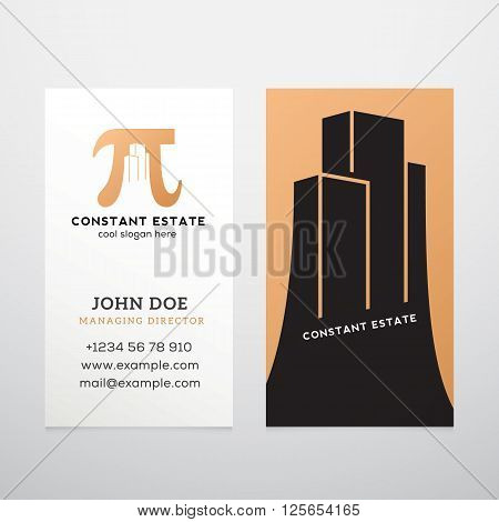 Constant Estate Abstract Vector Business Card Template. Pi Sign with Negative Space Buildings as a Logotype. Realistic Shadows Mock Up. Isolated.