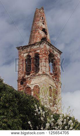 Casaleggio, Novara, Italy. An old abandoned bell-tower