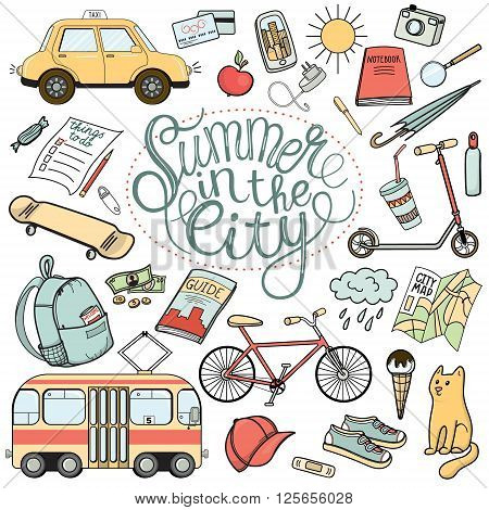 Summer in the city colorful hand drawn doodle set. Urban tourist necessities. Isolated vector illustrations