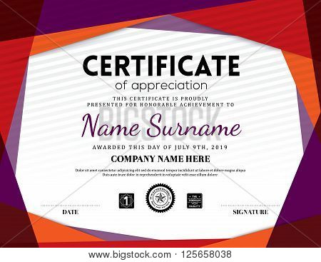 Modern certificate triangle background frame design template