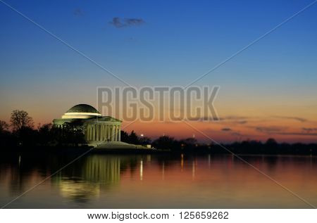 Jefferson Memorial Builing at Sunset with Spot Focus and reflection in water