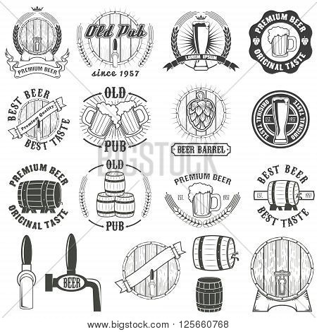 Set of beer labels badges and design elements. Beer barrel. Beer barrel icons. Old pub. Premium beer. Design elements in vector.