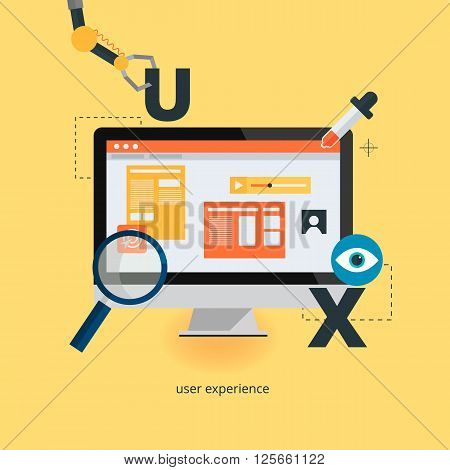 UX design web infographic concept vector. User interface experience, usability, mockup, wireframe development .Optimizing user experience in e-commerce.