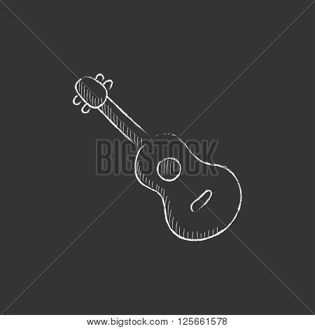Guitar. Drawn in chalk icon.