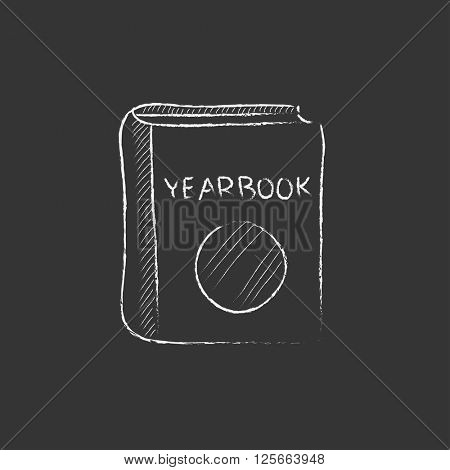 Yearbook. Drawn in chalk icon.
