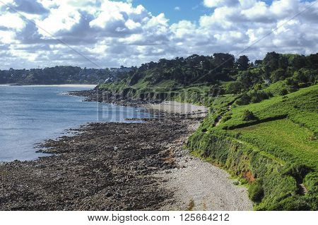 Ploumanach (Cotes-d'Armor Brittany France): the coast on the Atlantic ocean at summer poster