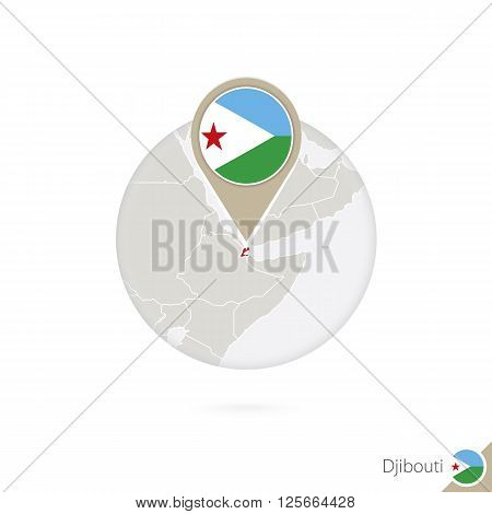 Djibouti Map And Flag In Circle. Map Of Djibouti, Djibouti Flag Pin. Map Of Djibouti In The Style Of