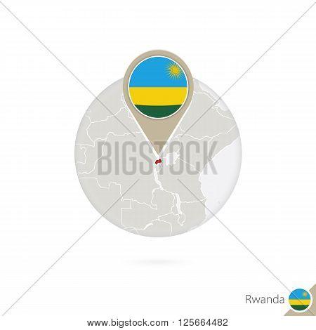 Rwanda Map And Flag In Circle. Map Of Rwanda, Rwanda Flag Pin. Map Of Rwanda In The Style Of The Glo