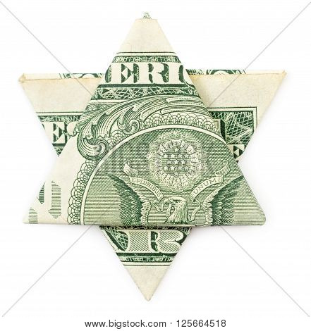 Dollar origami star of David isolated on white background