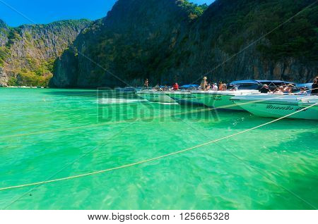 Phi Phi Leh Thailand - February 2 2014: Speedboat bring tourist to attaction point and docking at the maya beach.