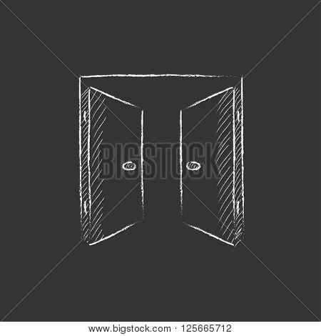 Open doors. Drawn in chalk icon.