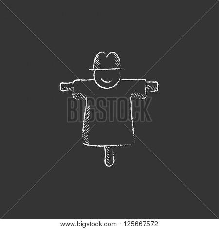 Scarecrow. Drawn in chalk icon.