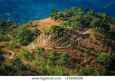 Trekking paths on the mountain in national park Tak Thailand