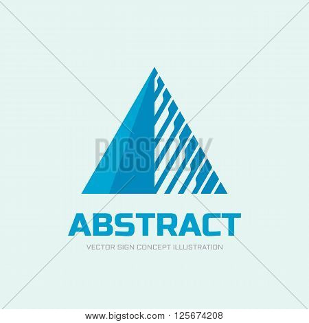 Abstract triangle vector logo concept illustration. Pyramid triangle logo. Financial stability concept logo sign. Geometric logo sign. Vector logo template. Design element.