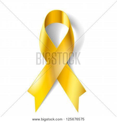 Gold ribbon as symbol of childhood cancer awareness