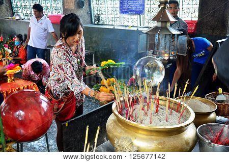 Thai Woman Praying Angel Statue At Phra Kal Shrine