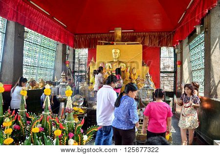 People Pray Angel Statue At Phra Kal Shrine