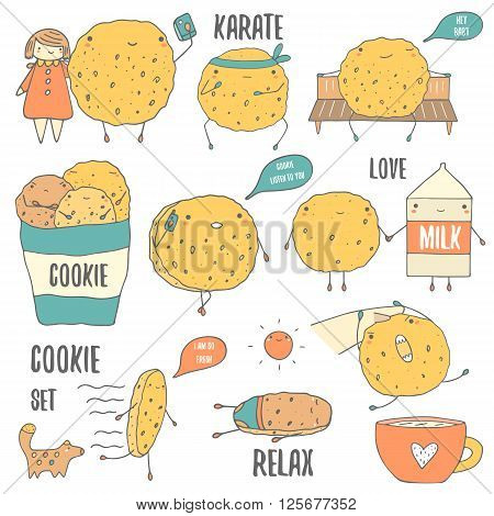 Cute hand drawn doodle cookies characters set including karate cookie cookie with phone cookie doing photo with girl cookie with milk cookie with dog cookie with cup. Cookie icon logo banner