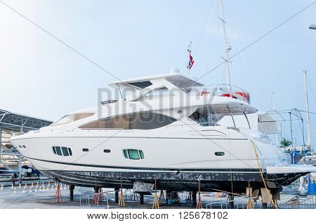 Yacht repairing in a shipyard at Phuket Thailand