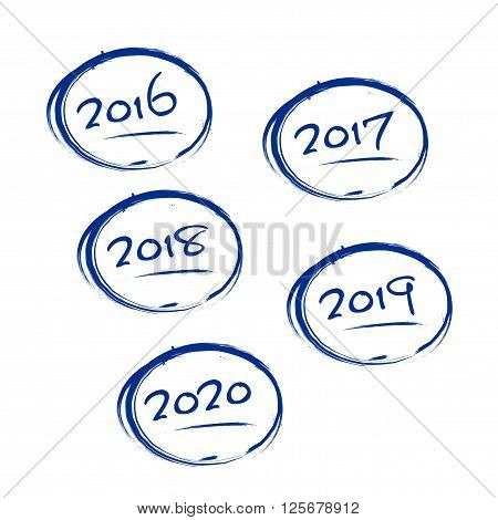Blue Grungy Frames With 2016-2020 Years Signs