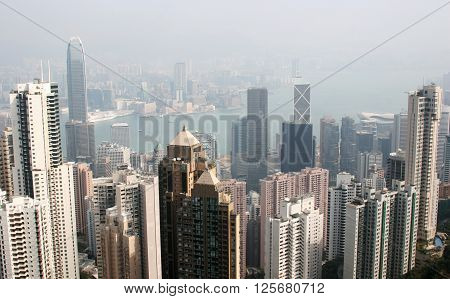 hong kong central business district in heavy fog