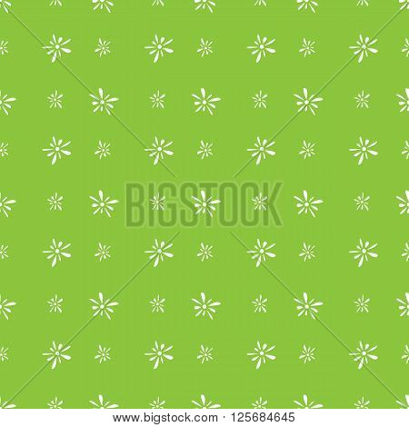 Seamless pattern of white florets petals on green background