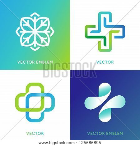 Vector Set Of Abstract Logos And Emblems - Alternative Medicine Concepts