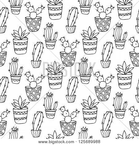 Cactus seamless pattern illustration. Vector succulent and cacti hand drawn set. In door plants in pots. Exotic mexican flora design. poster