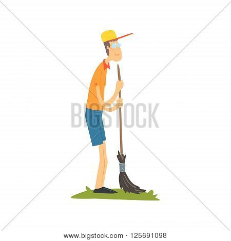 Guy In Glasses Sweeping Flat Isolated Vector Image In Simple Childish Style On White Background