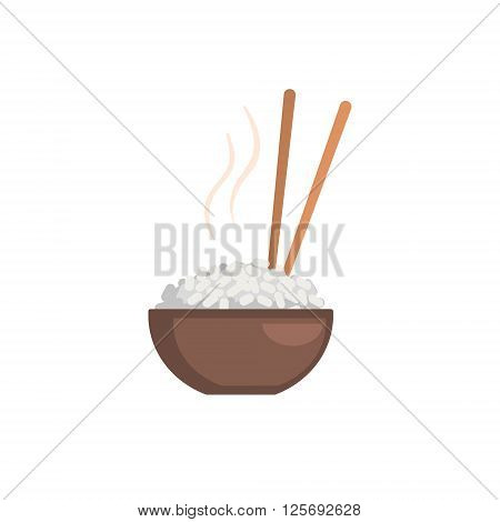 Rice Bowl Cartoon Style Flat Vector Illustration On White Background With Text