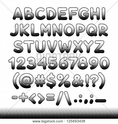 Comic font black offset print for your retro design. Isolated on white background. Clipping paths included.