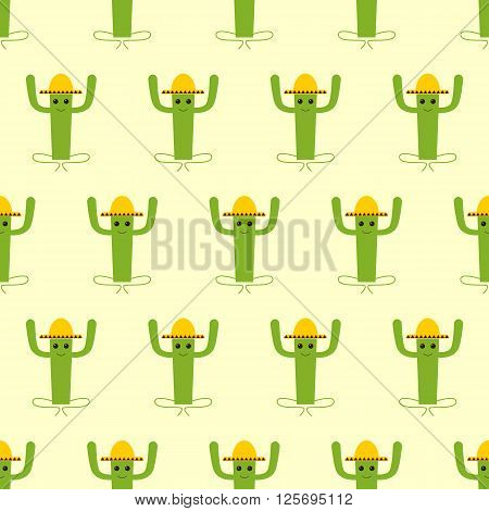 Seamless pattern with mexican cactus isolated on yellow background