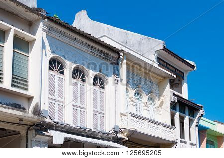 Phuket Sino Portuguese buildings at the old town Thailand