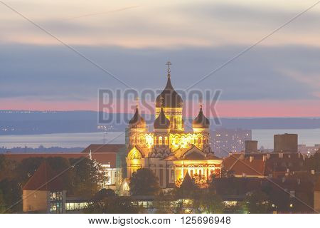 Alexander Nevsky Cathedral on Toompea hill at night. ** Note: Visible grain at 100%, best at smaller sizes