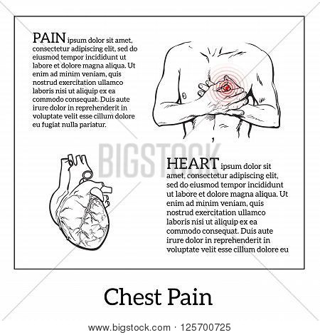 Information about heart pain, chest pain in men, anatomical image of the human heart, vector sketch hand-drawn illustration of heart and human patients suffering from chest pains man holding chest