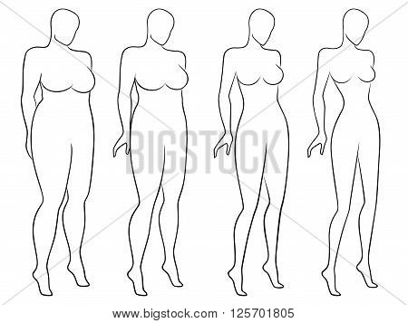 Fore stages of abstract woman on the way to lose weight black and white laconic vector outlines isolated on white background